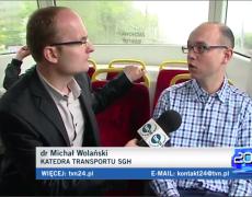 Michał Wolański komentuje w TVN24 sytuację komunikacji miejskiej w stolicy